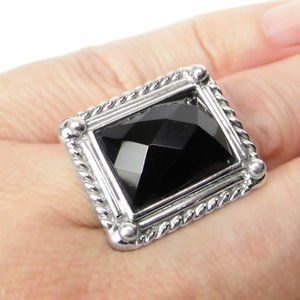 Black ONYX Solitaire Sterling SILVER Ring size 5.5